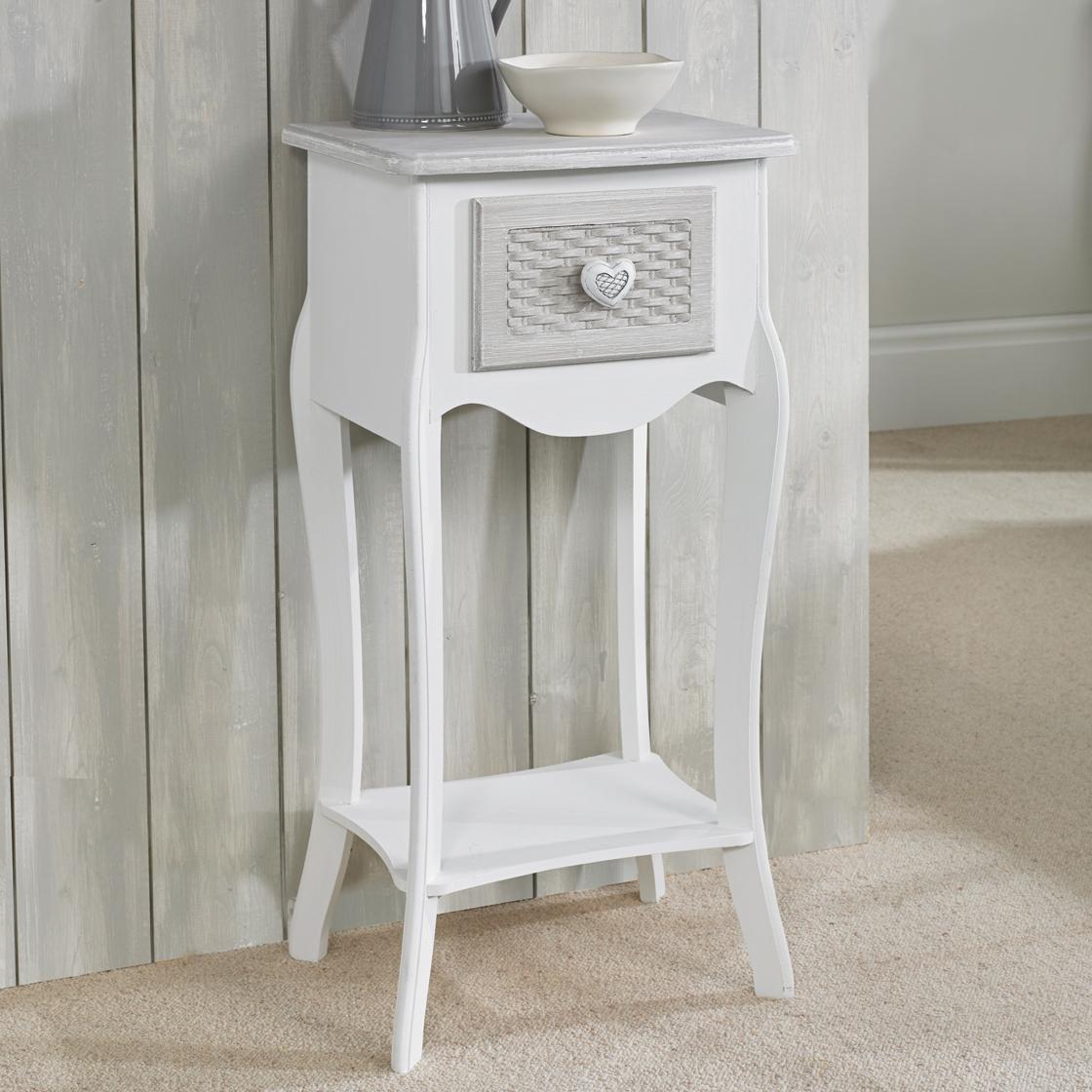 Brittany 1 Drawer Bedside White-Grey