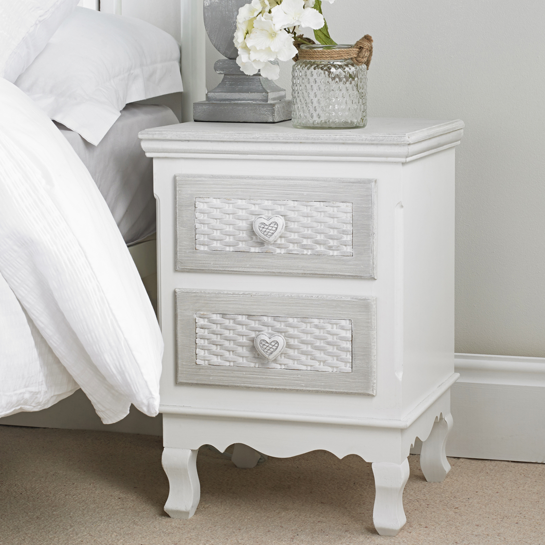 Brittany 2 Drawer Bedside White-Grey