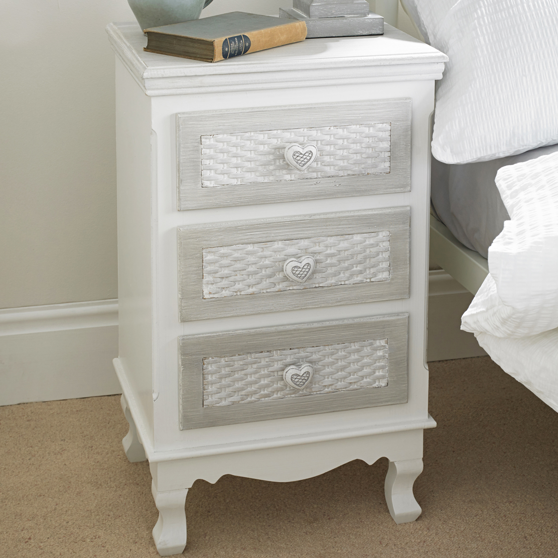 Brittany 3 Drawer Bedside White-Grey
