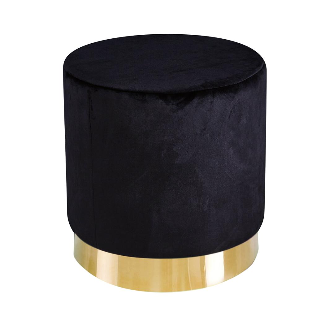 Lara Pouffe Black Velvet