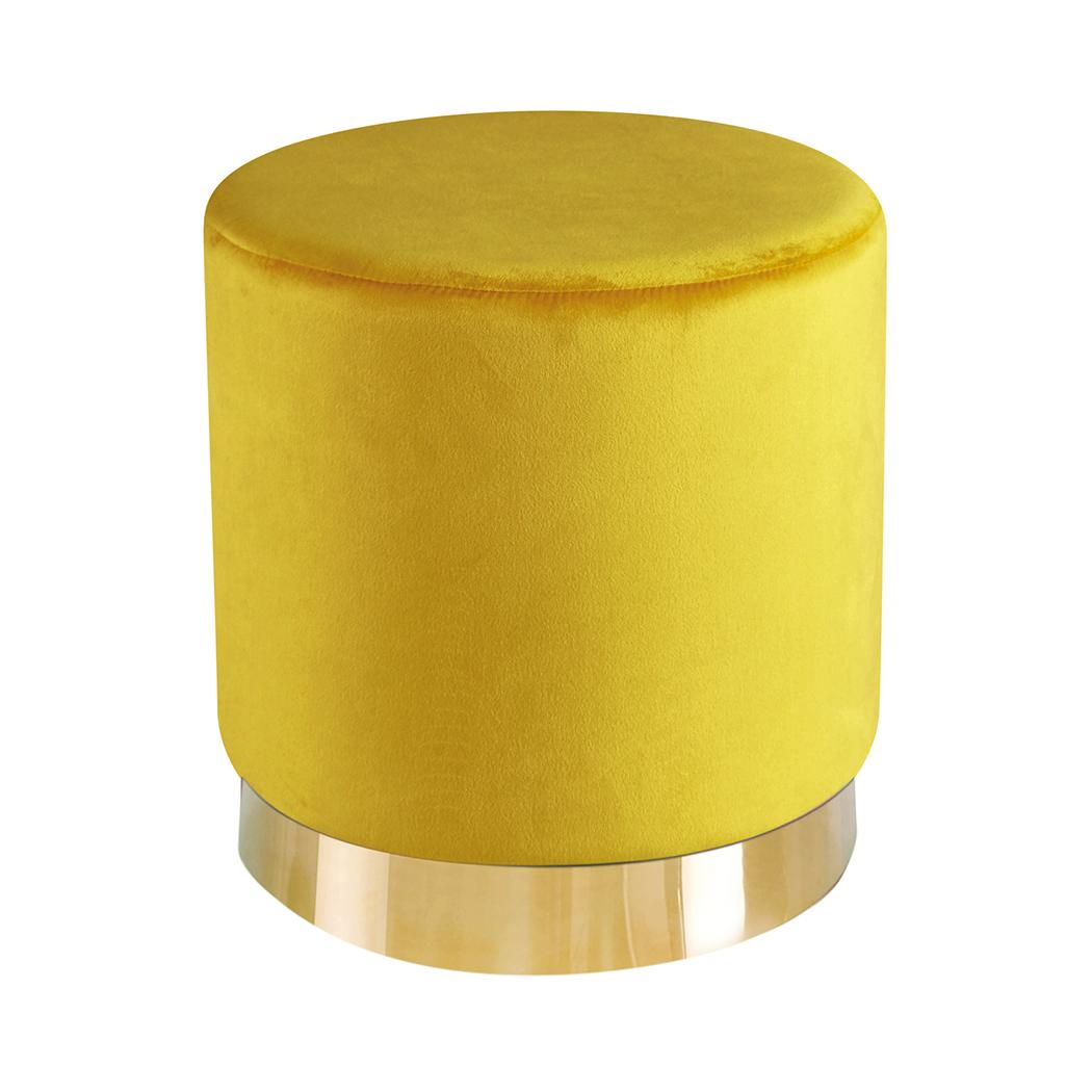 Lara Pouffe Ochre Yellow Velvet