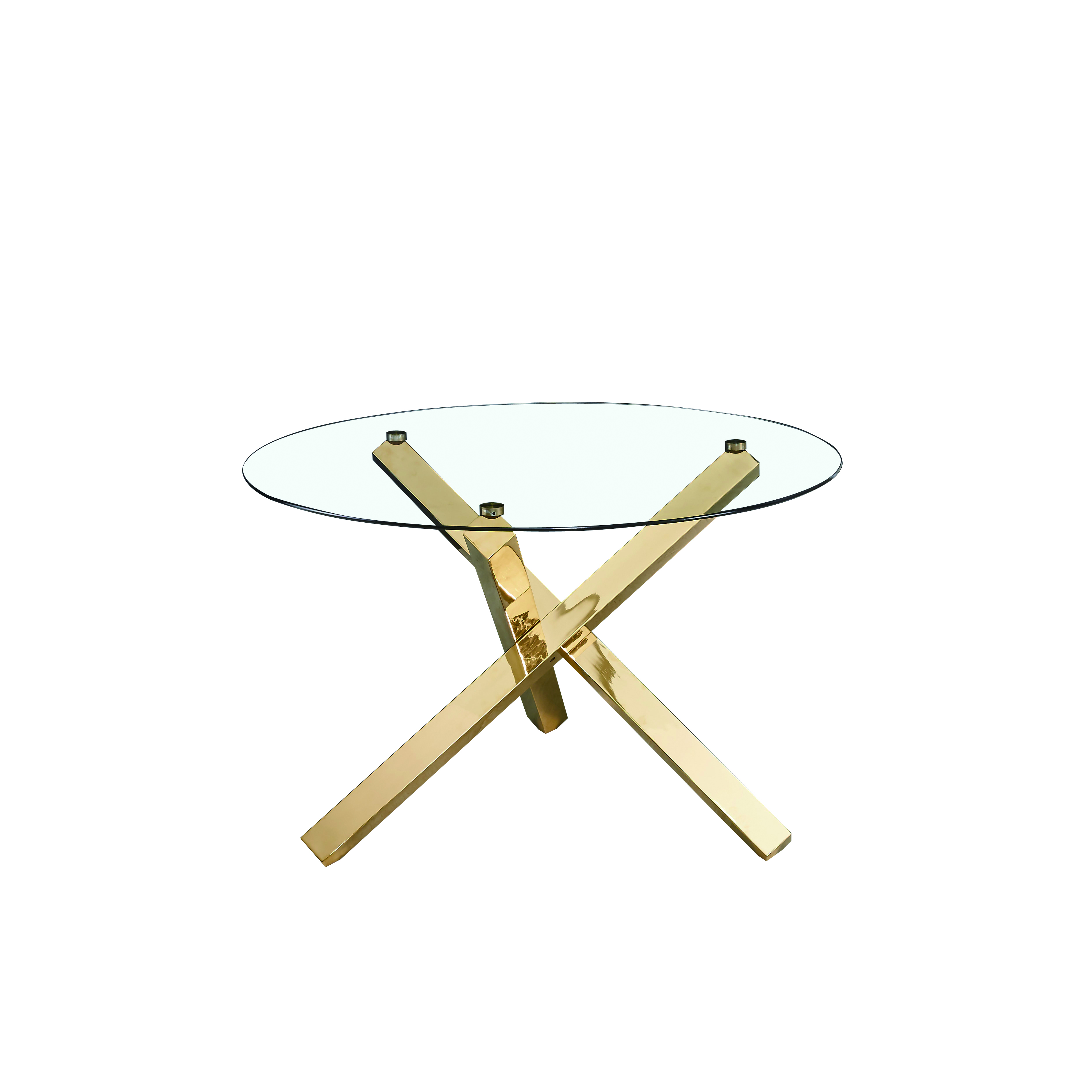 Capri Dining Table Glass Top With Gold Legs