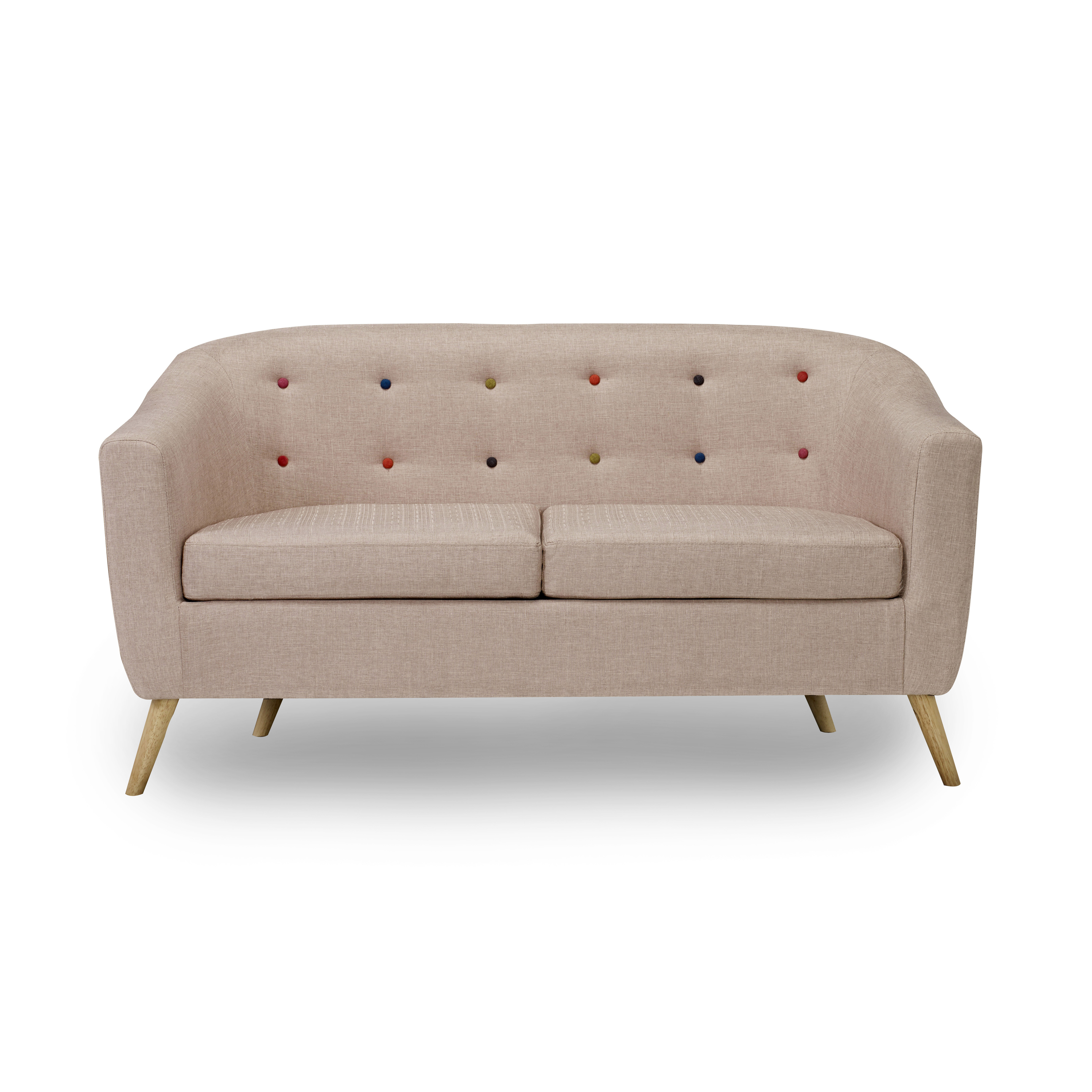 Hudson Sofa With Buttons Beige