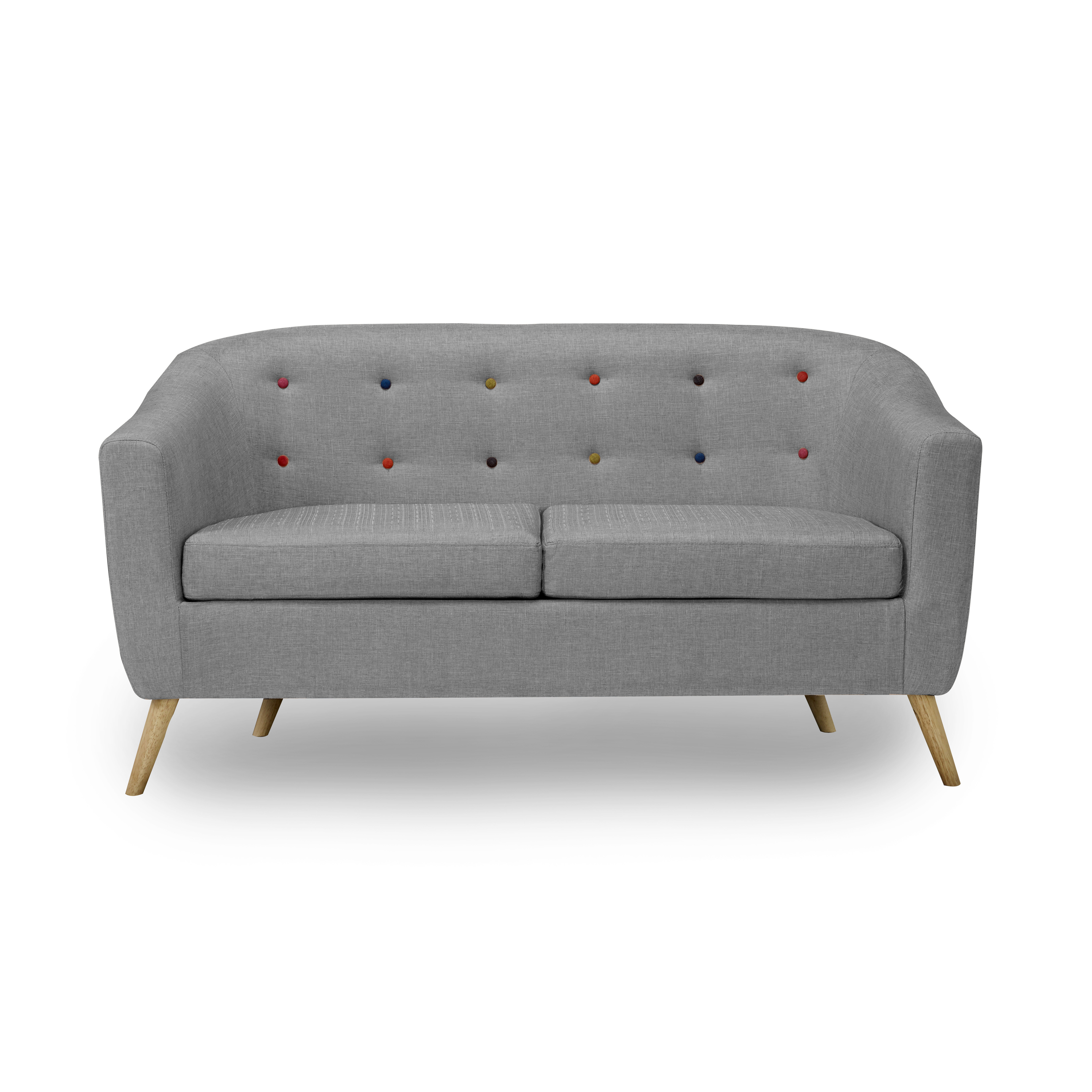 Hudson Sofa With Buttons Grey