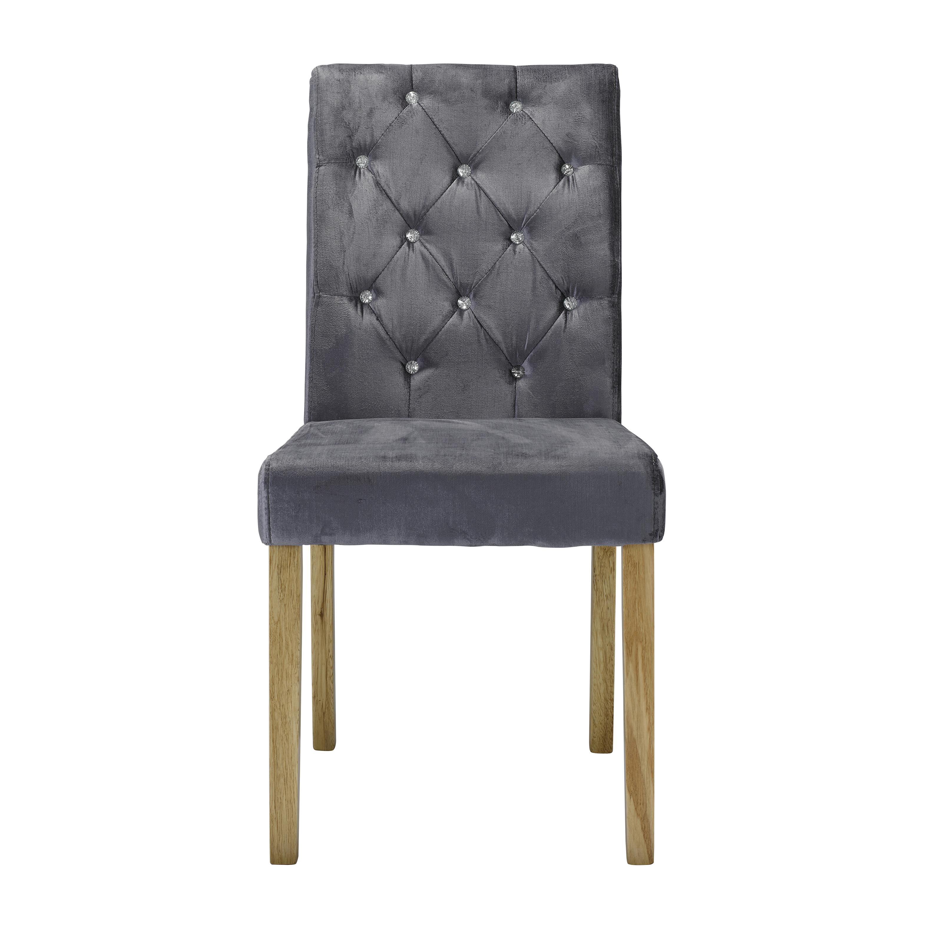 Paris Chair Silver Velvet (Pack of 2)